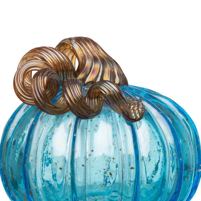 Blue Glass Pumpkin & Gourd Set