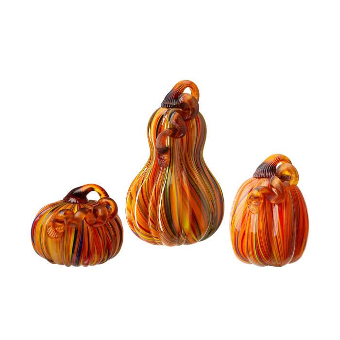 Multi Striped Glass Pumpkin & Gourd Set