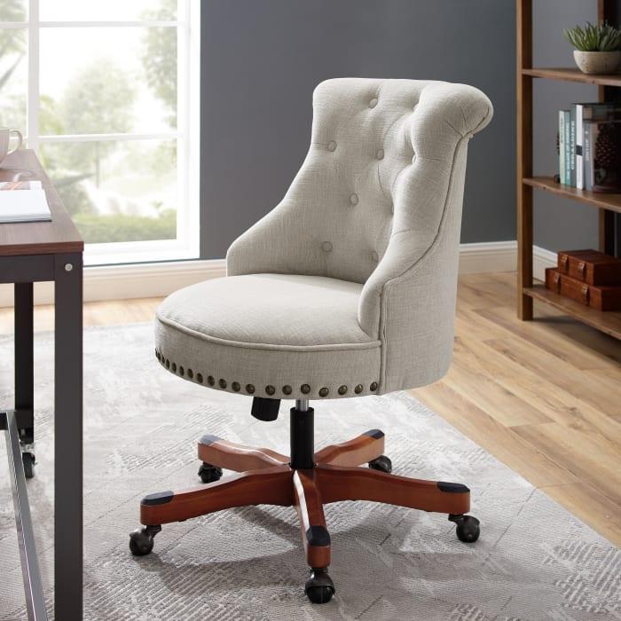 Ashland Natural  with Antique Bronze Nailhead Trim Office Chair