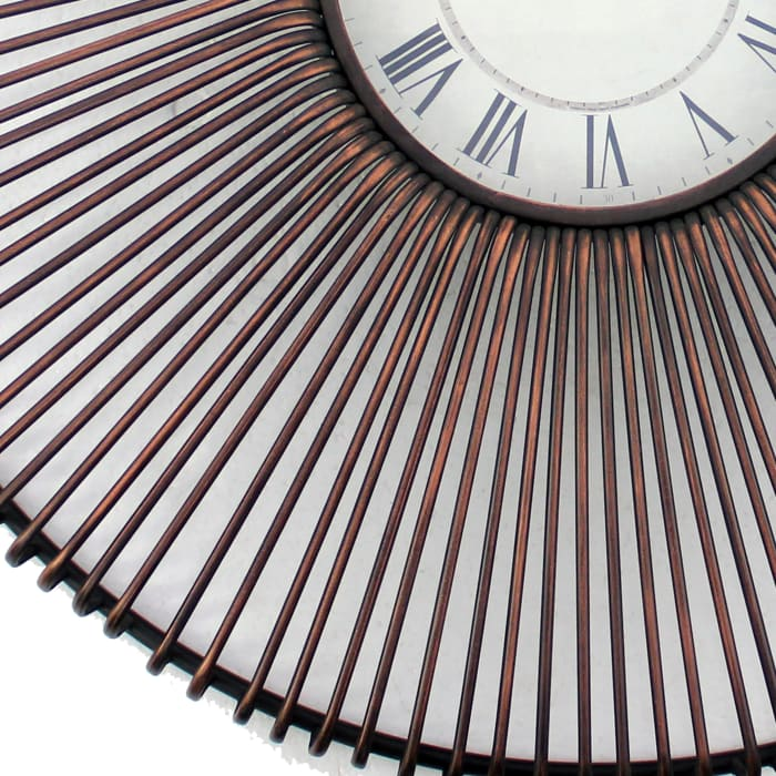 Metal Fan Guard Design Frame Brown Wall Clock