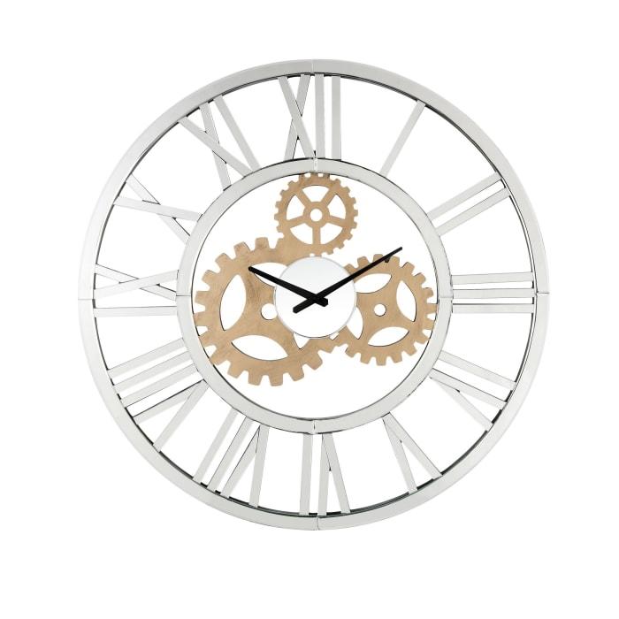 Mirror Panel Open Frame Gear Design Silver Wall Clock