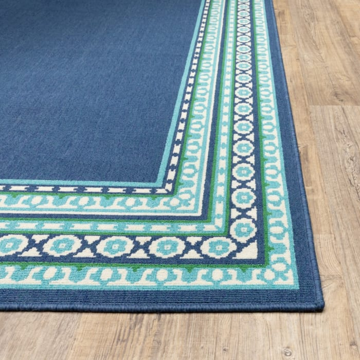 Round Navy and Green Geometric Outdoor Area Rug
