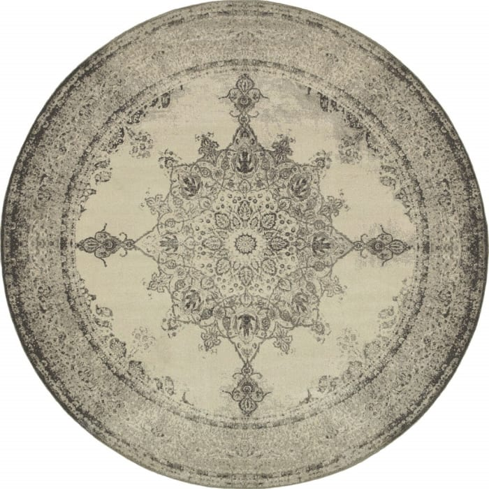 Round Ivory and Gray Pale Medallion Area Rug