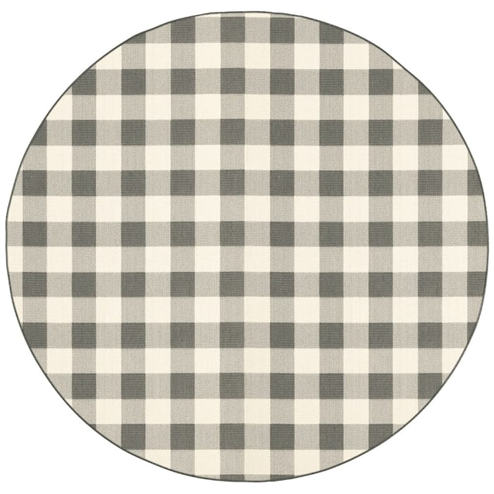 Round Gray and Ivory Gingham Outdoor Area Rug