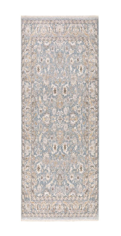 Machine Woven Floral Oriental Blue Ivory  Runner