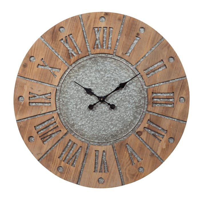 Metal Accents Round Brown and Gray Wooden Frame Wall Clock