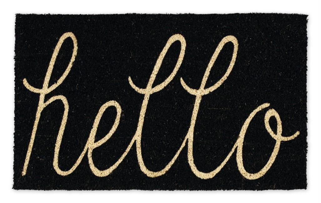 Black Hello Doormat