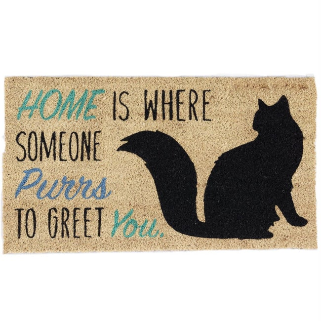 Cat Purrs To Greet You Home Doormat