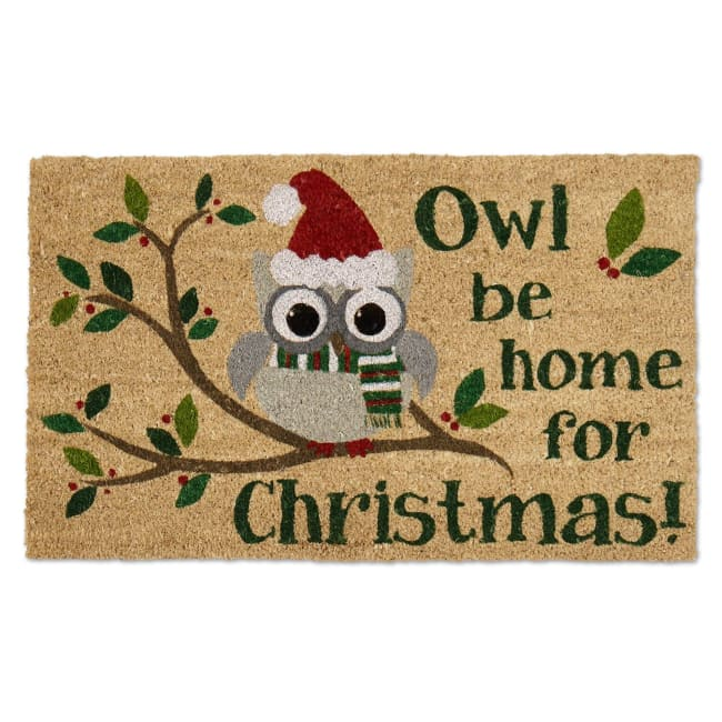 Owl Be Home For Christmas Doormat