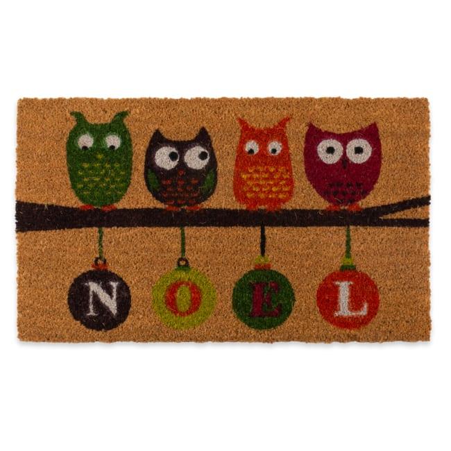J&M Noel Owls Vinyl Back Coir Doormat 18x30