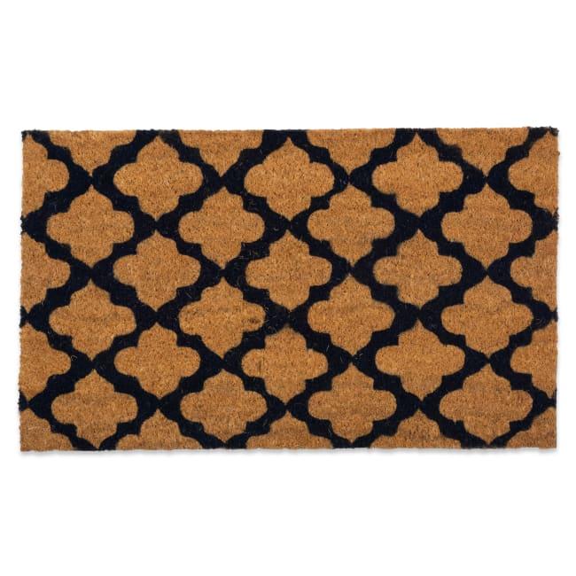 J&M Printed Moroccan Blue Vinyl Back Coir Doormat 24x36