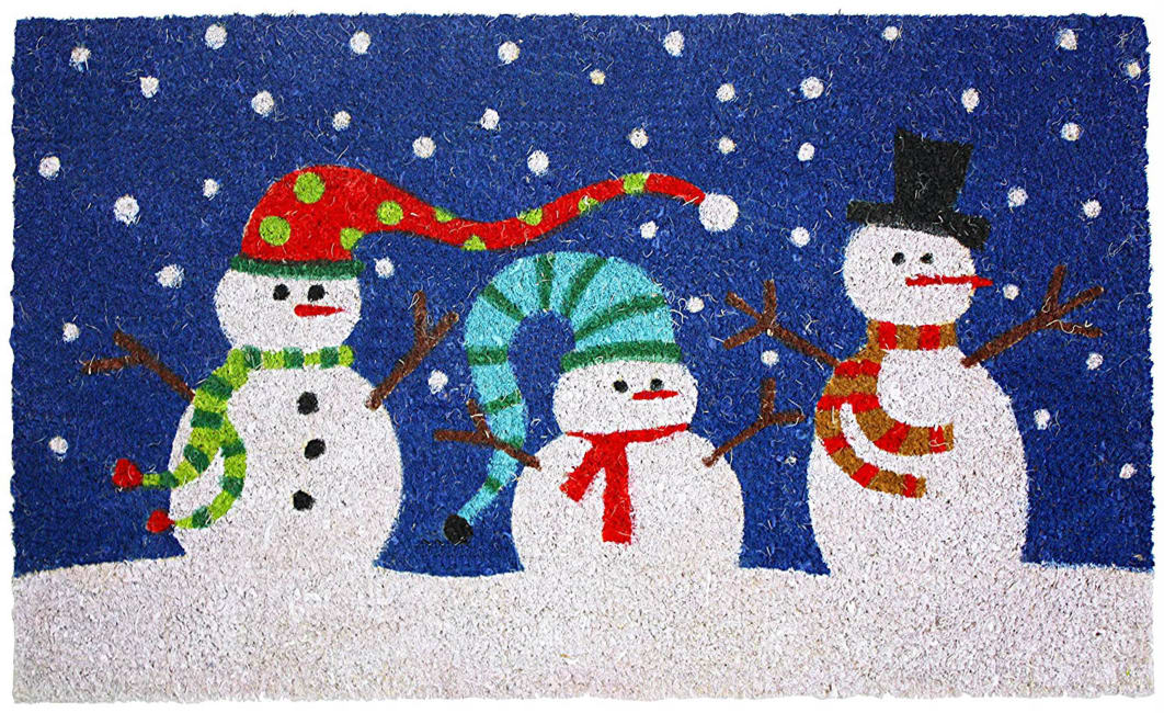 J&M Snowman Vinyl Back Coir Doormat 18x30