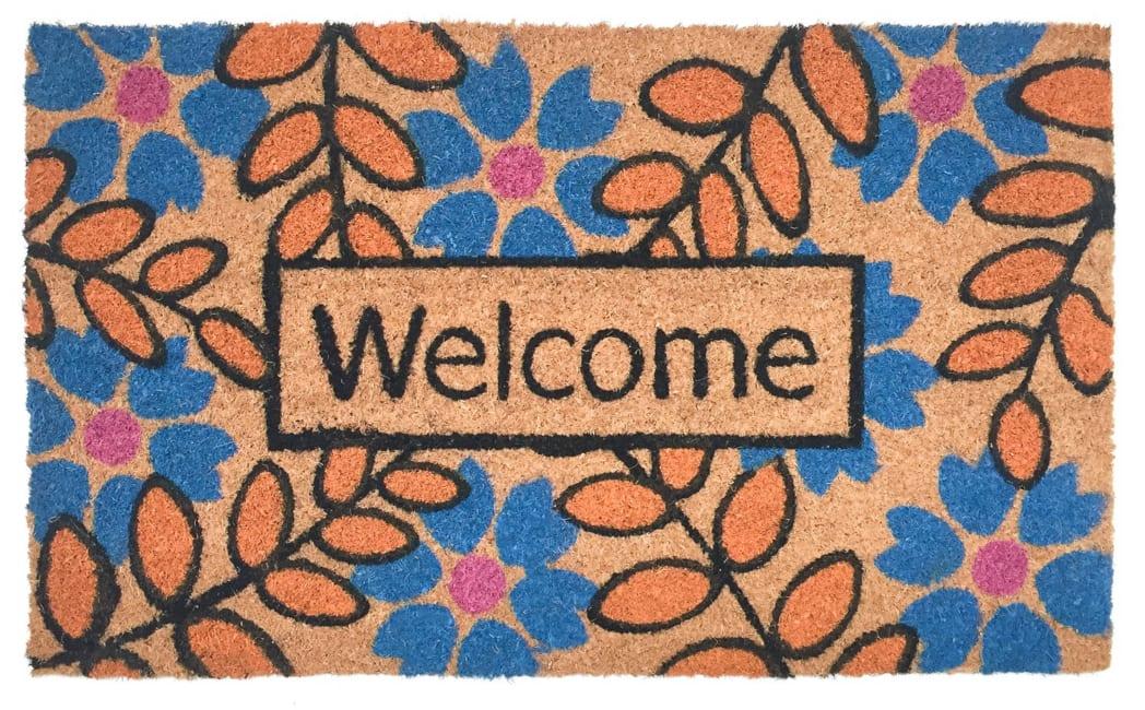J&M Welcome Flower Leaves Vinyl Back Doormat 18x30