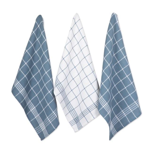 Blue Waffle Weave Dishtowel Set of 6