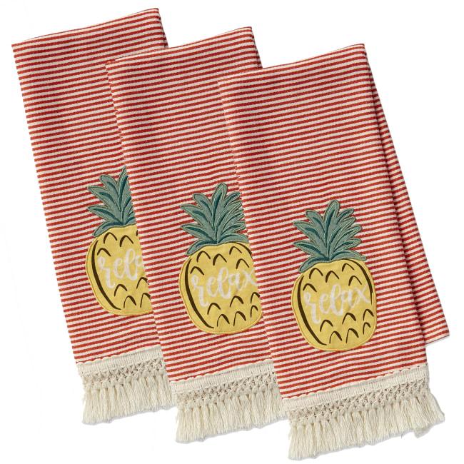 Island Tropics Pineapple Embellished Dishtowels Set/3