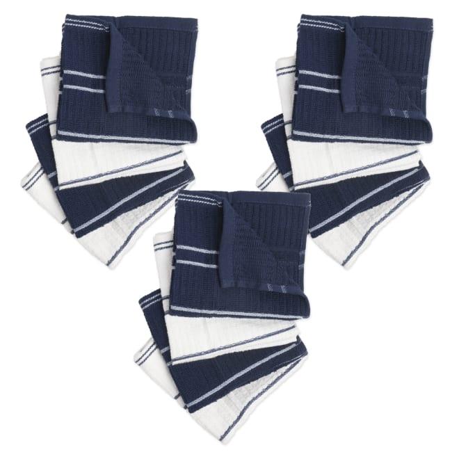 J&M Blue/White Ribbed Terry Dishcloth (Set of 12)