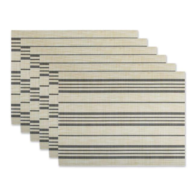 Black Farmhouse Stripe PVC Woven Placemat