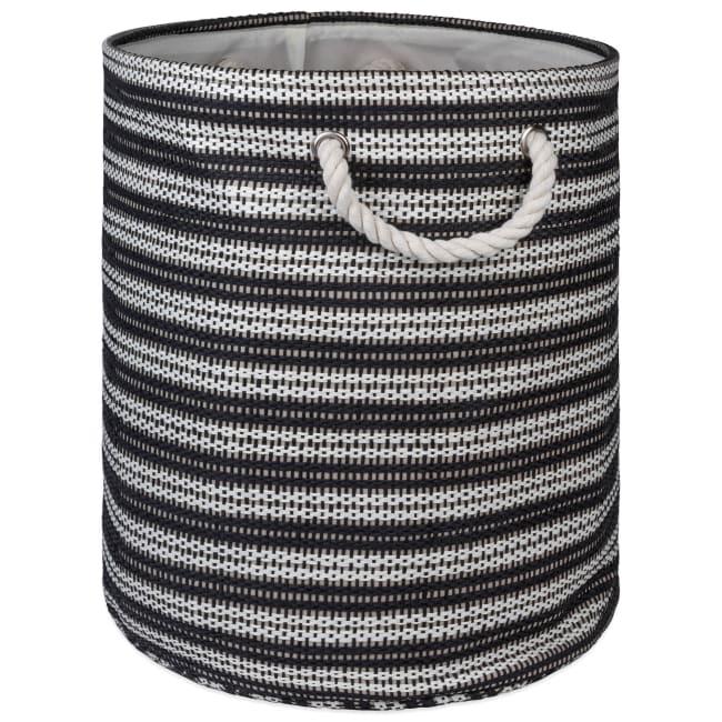 Paper Storage Bin Basketweave Black/White Round Large 20x15x15