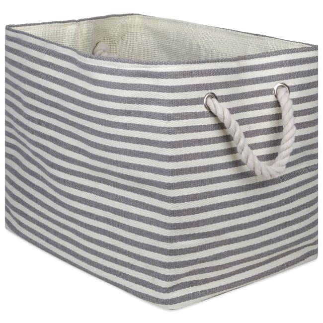 Paper Storage Bin Pinstripe Gray Rectangle Large 17x12x12