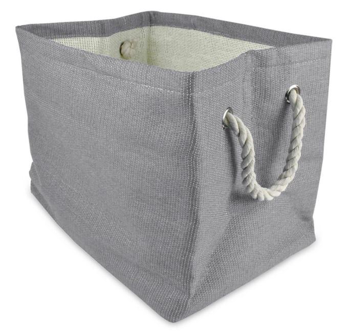 Paper Basket Solid Gray Rectangle Medium 15x14x10