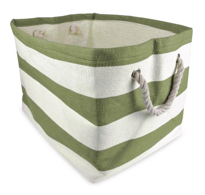 Paper Storage Bin Stripe Olive Green Rectangle Large 17x12x12