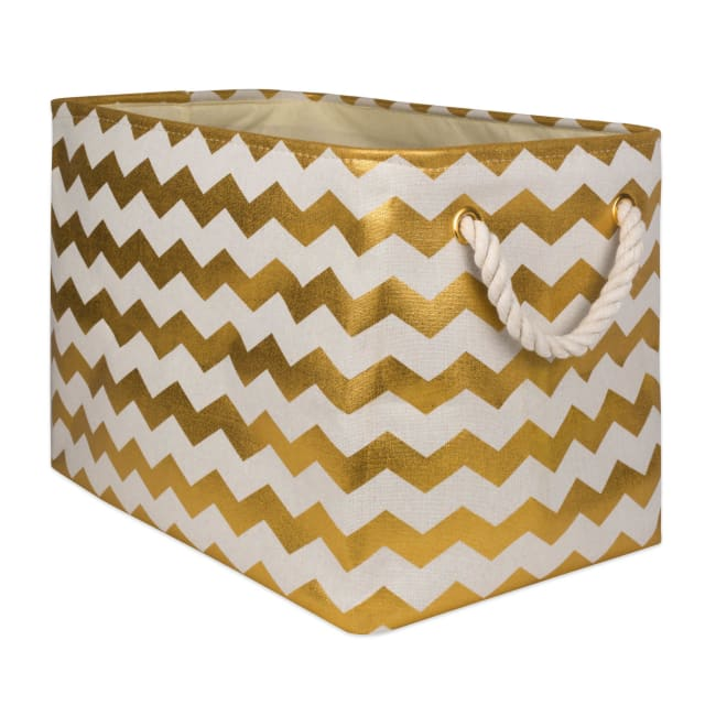 Polyester Storage Bin Chevron Gold Rectangle Large 17.5x12x15