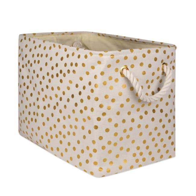 Polyester Storage Bin Dots Gold Rectangle Large 17.5x12x15