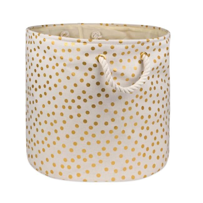 Polyester Storage Bin Dots Gold Round Medium 12x15x15