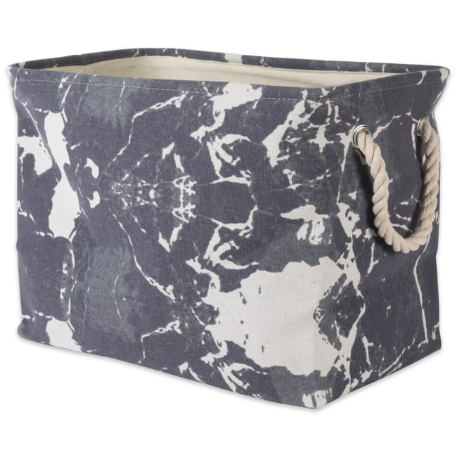 Polyester Storage Bin Marble Black Rectangle Large 17.5x12x15