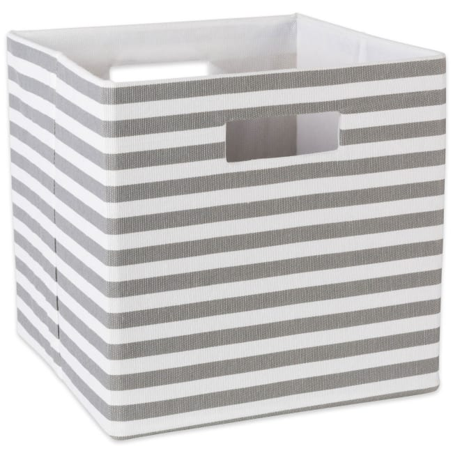 Polyester Cube Pinstripe Gray Square 13x13x13
