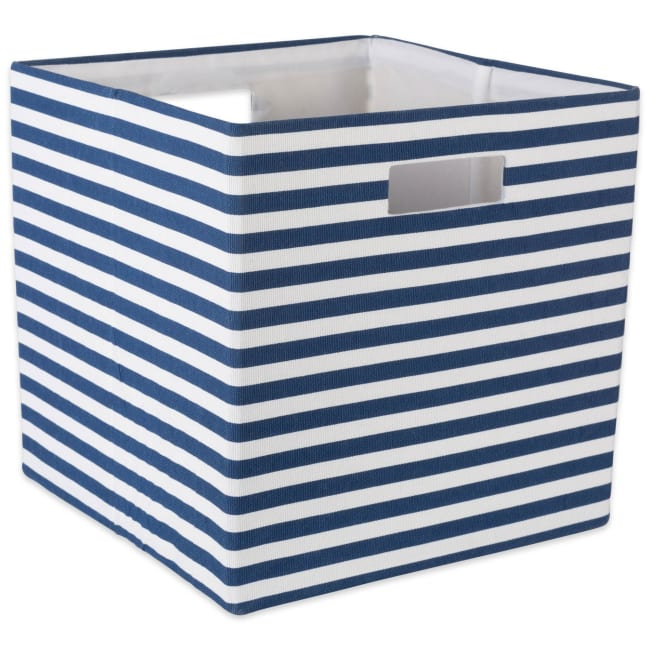 Polyester Cube Pinstripe Nautical Blue Square 13x13x13