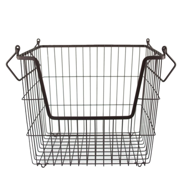 Metal Basket Bronze Rectangle Large 13x10x11