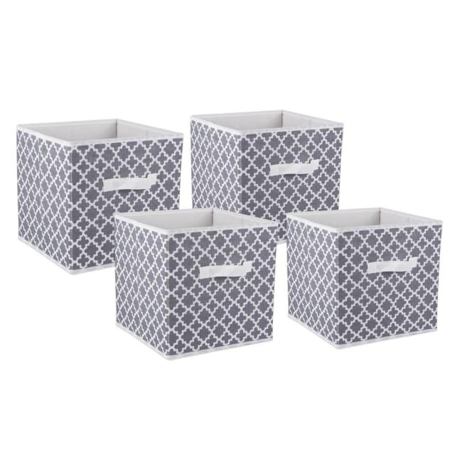 Nonwoven Polyester Cube Lattice Gray Square 11x11x11 Set/4