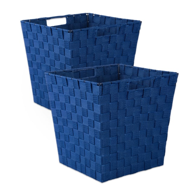 Nylon Storage Bin Basketweave Navy Trapezoid 13x13x13 Set/2
