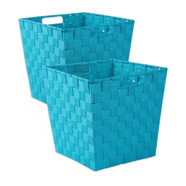 Nylon Storage Bin Basketweave Teal Trapezoid 13x13x13 Set/2
