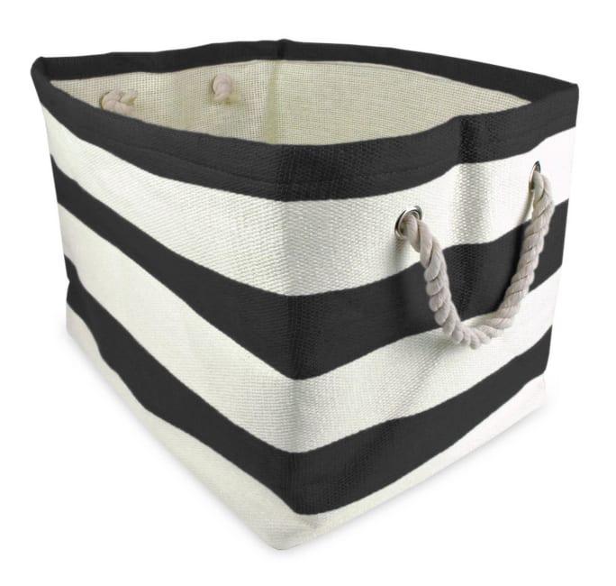 Paper Basket Stripe Black Rectangle Medium 15x14x10