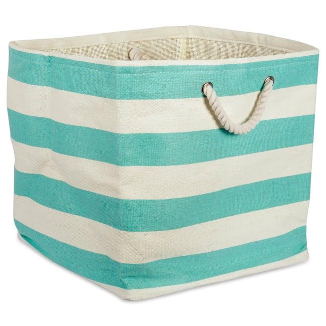Paper Cube Stripe Aqua Square 16x16x16