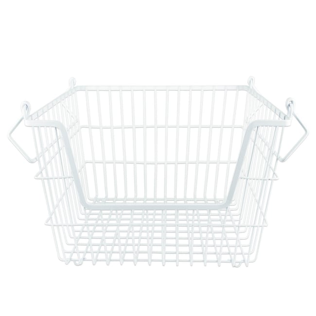 White Rectangle Metal Basket Medium 13x11x9