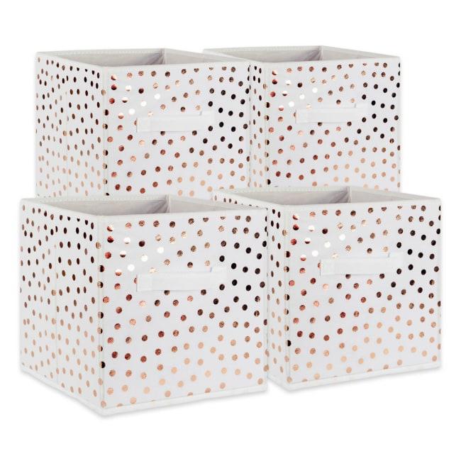 Nonwoven Polyester Cube 11x11x11 Small Dots White/Copper Set/4