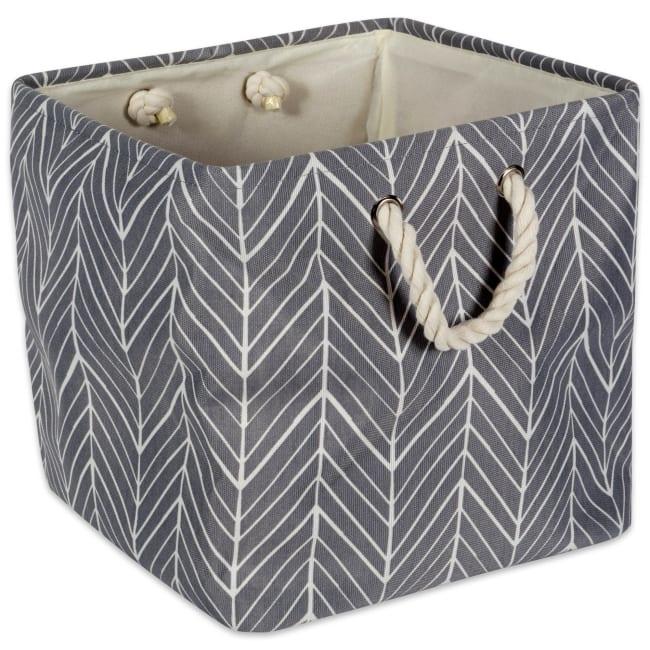 Polyester Storage Bin Herringbone Gray Square 11x11x11