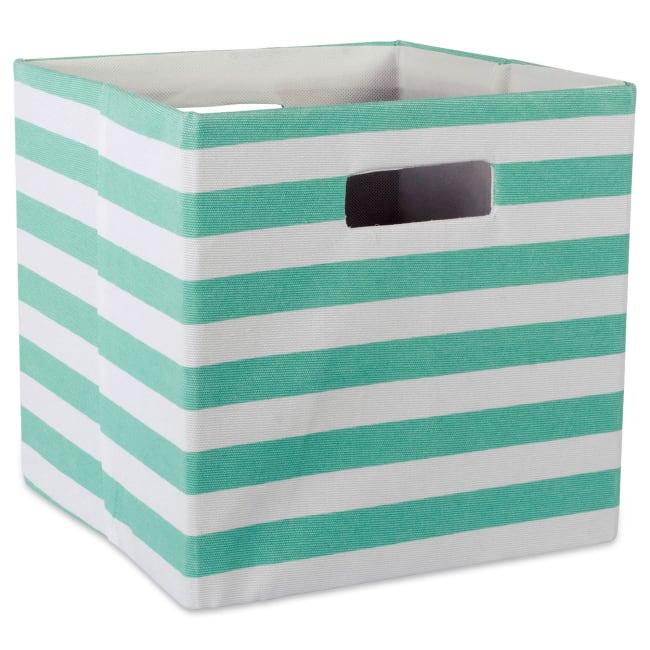 Polyester Cube Stripe Aqua Square 13x13x13