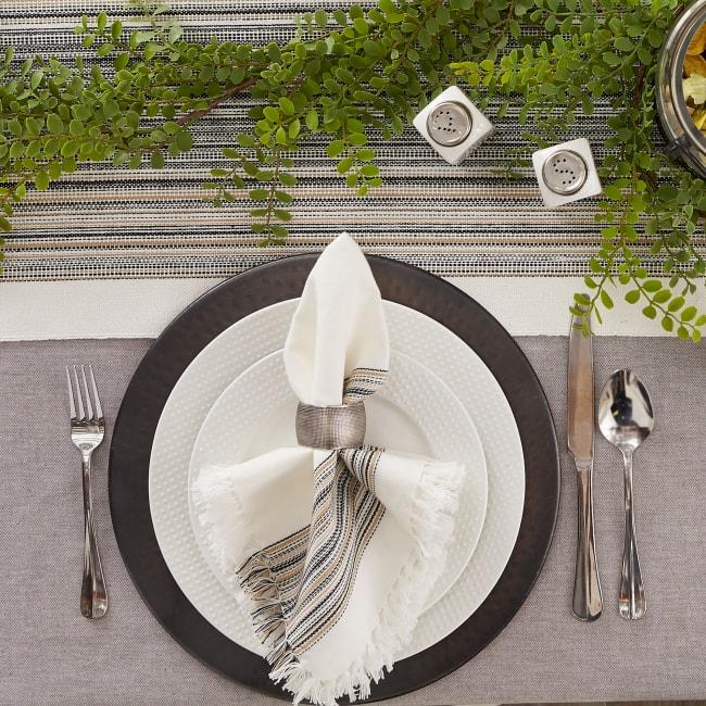 Black Fringed Stripe Napkins, 20x20