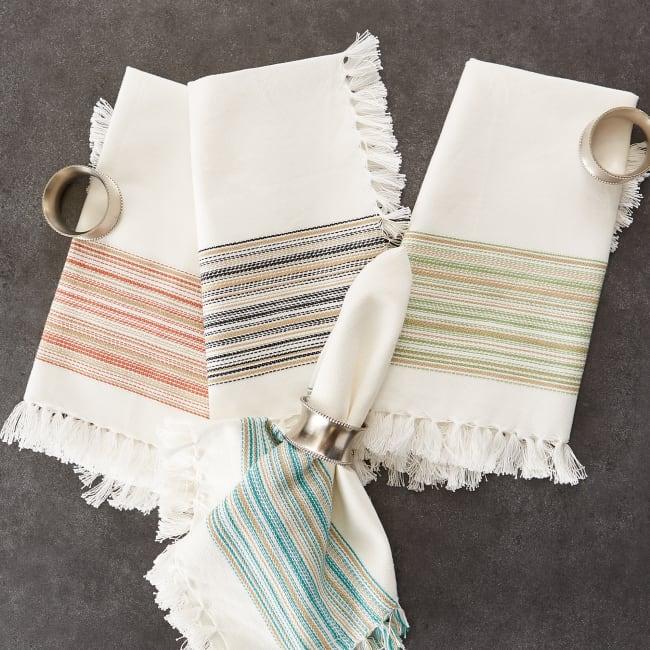 Pimento Fringed Stripe Napkins, 20x20