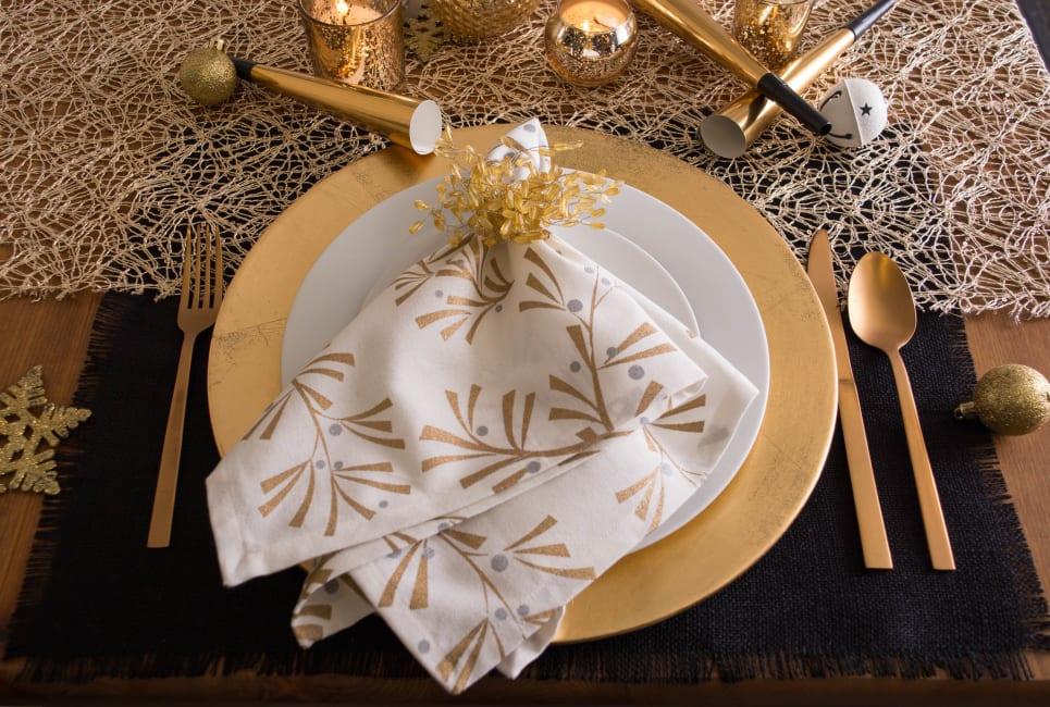 Gold Beaded Burst Napkin Ring Set of 6