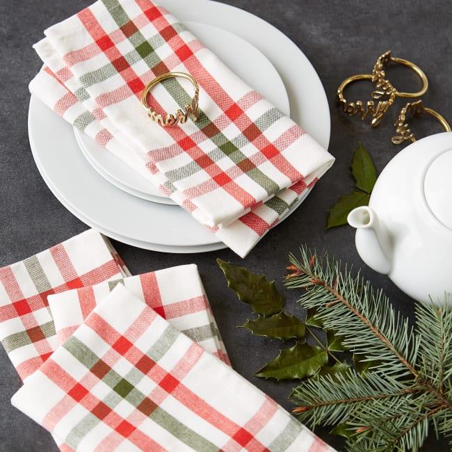 Kitchen & Tabletop Jolly Tree Collection Napkin Set, Nutcracker Plaid, S/6