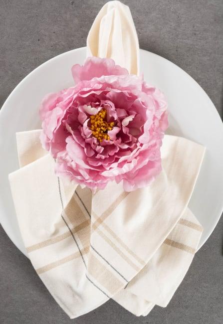 Peony Flower Napkin Ring (Set of 4)