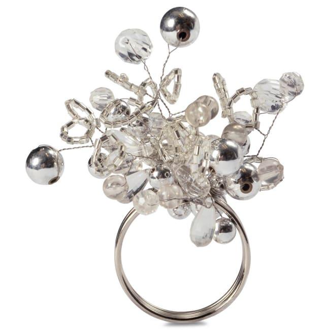 Silver Multi Bead Napkin Ring (Set of 6)