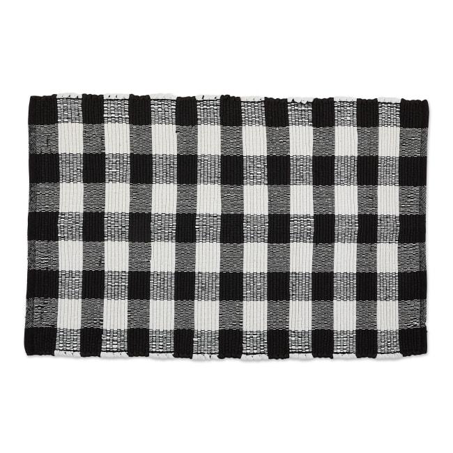 Black and White Buffalo Check Rag Rug 26x40