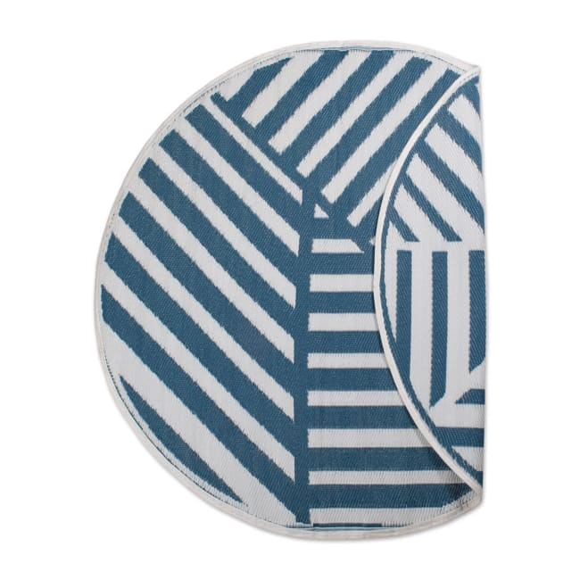 Blue Geometric Outdoor Rug 5 Ft Round