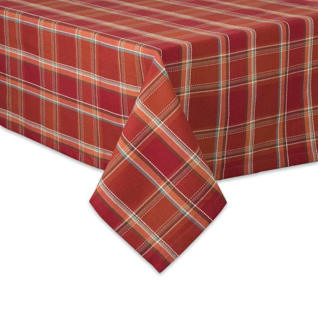 Autumn Spice Plaid Tablecloth 60x84